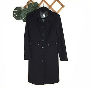 J. Crew | Black Long Wool Coat Jacket Size 6